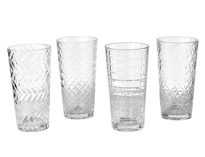 Set 4 Vasos Largos Transparentes